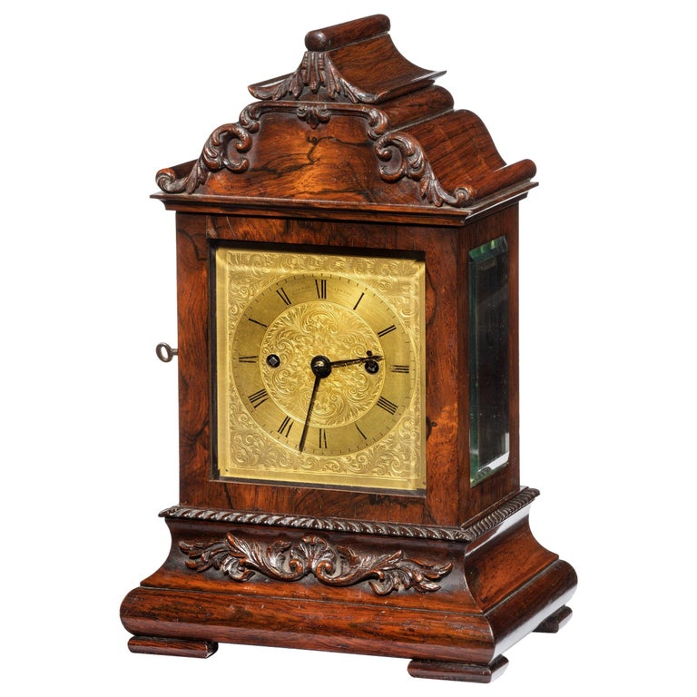 Late William IV Rosewood Bracket Clock by French, Royal Exchange, London For Sale