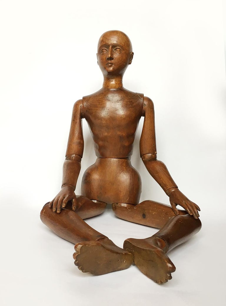 Carved Late 19th Century Italian Wood Mannequin, circa 1880 For Sale