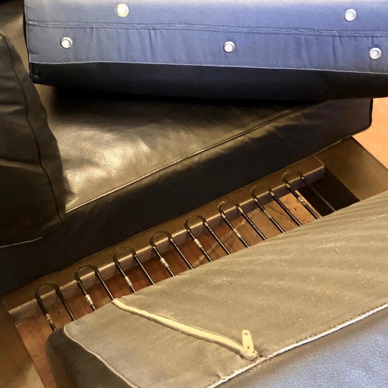 Bastiano Black Leather Sofa with Walnut Frame by Afra & Tobia Scarpa For Sale 4