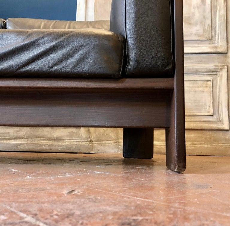 Bastiano Black Leather Sofa with Walnut Frame by Afra & Tobia Scarpa For Sale 2