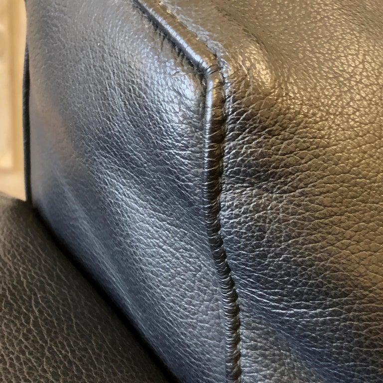 Bastiano Black Leather Sofa with Walnut Frame by Afra & Tobia Scarpa For Sale 3