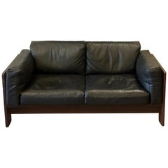 Bastiano Black Leather Sofa with Walnut Frame by Afra & Tobia Scarpa