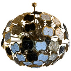 Late 20th Century Brass and Multi-Color Murano Glass Sputnik Chandelier