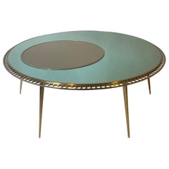 Late20th Century Italian Round Green Mirror Coffee Table w/Brass & Steel Details