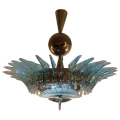 Late 20th Century Light Green Murano Glass and Brass Round Chandelier