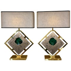 Late 20th Century Pair of Brass and Transparent & Green Murano Glass Table Lamps