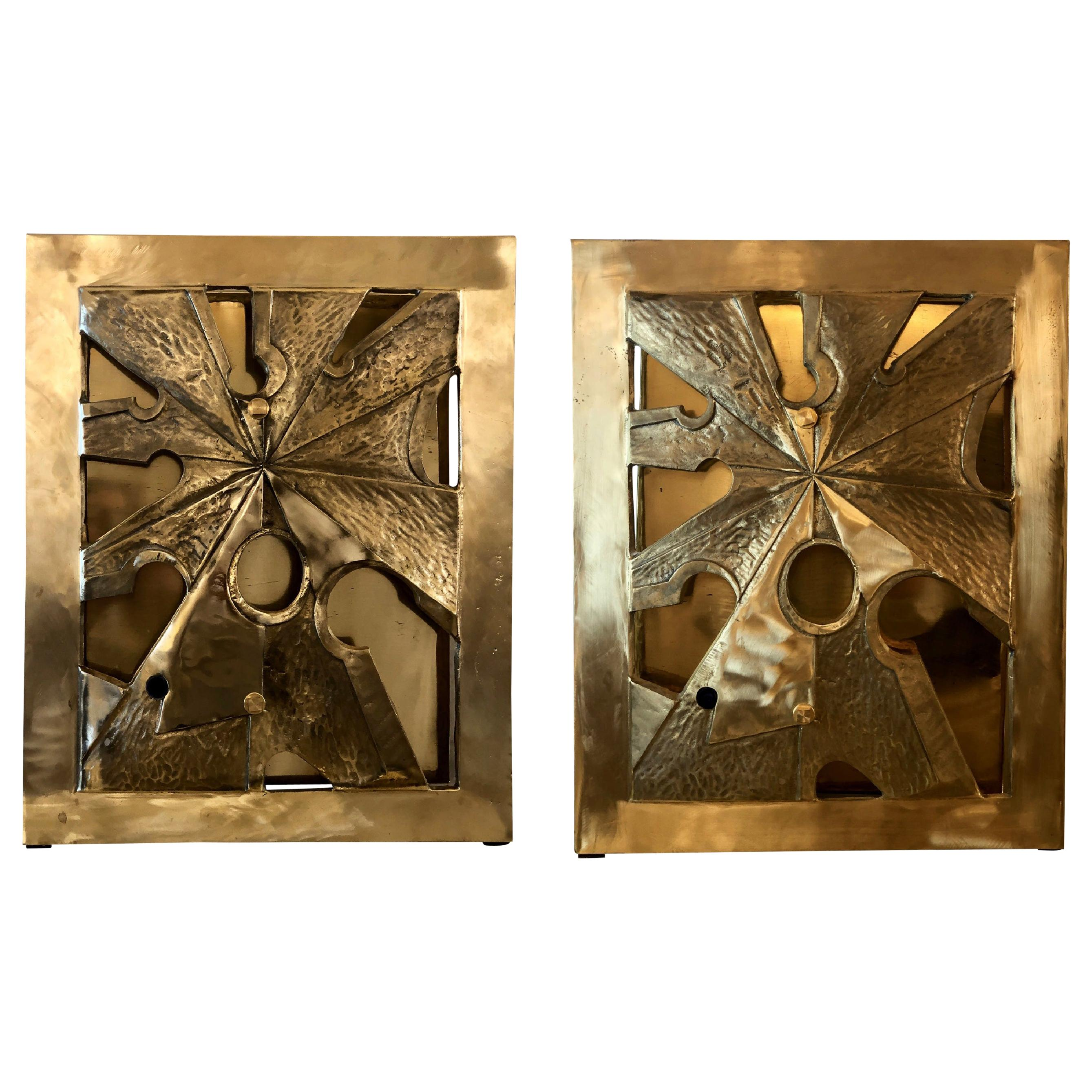 Late20th Century Pair of Brutalist Bronze & Brass Sconces w/ Purple Agate Cameos
