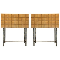 Late20th Century Pair of Cherrywood Cabinets w/ Marble Top & Bronzed Bamboo Legs