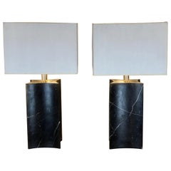 Late 20th Century Pair of Italian Black Marble Table Lamps with White Shades