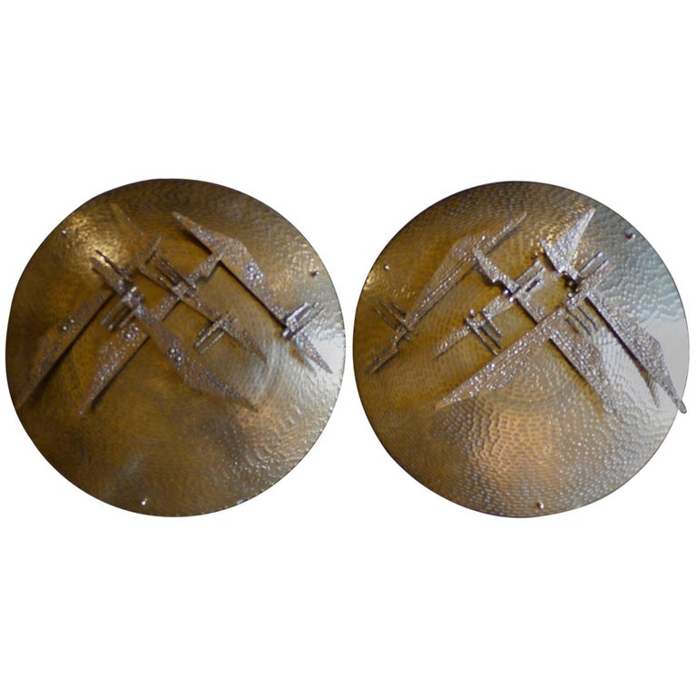 Late 20th Century Pair of Italian Hand-Hammered Brass and Bronze Shield Sconces For Sale