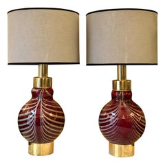 Late 20th Century Pair of Red & Striped Grey Murano Glass and Brass Table Lamps