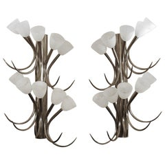 Pair of Extra Large Italian Brass Sconces with Ten Frosted Glass Diffusers