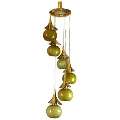 Late 20th Century Space Age Green Murano Glass and Brass Pendants Chandelier
