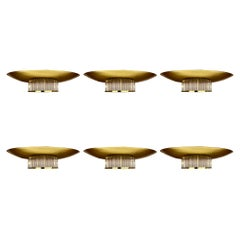 Three Pairs of Space Age Gold Metal and Transparent Glass Sconces