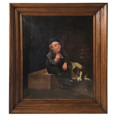 Later 19th Century European Painting of a Child with Dog