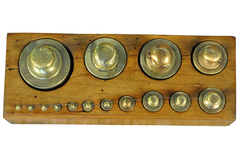 Brass Later 19th Century French Set of Scale Weights For Sale
