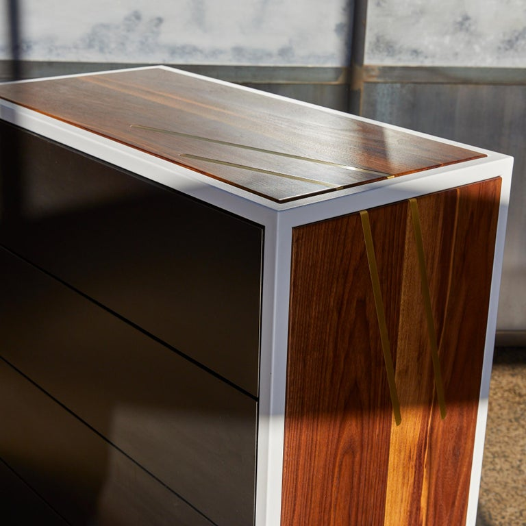 Modern Lateral Dresser Metal and Hardwood Dresser with Brass Inlay and Hot Rolled Steel For Sale