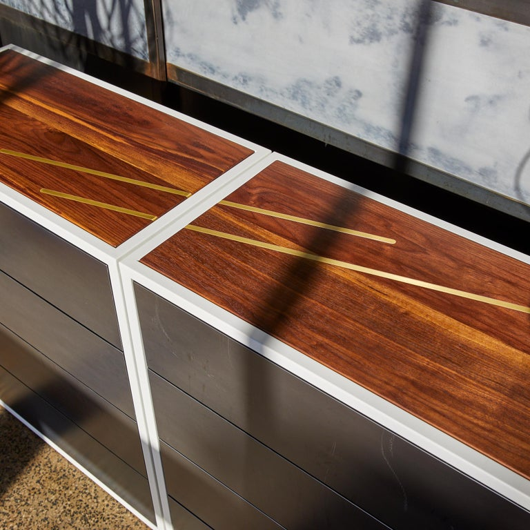 Contemporary Lateral Dresser Metal and Hardwood Dresser with Brass Inlay and Hot Rolled Steel For Sale
