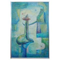 Latin American Art Abstract Surrealism Oil Canvas Painting in Aqua Drejel 1973