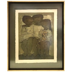 Latin American Modern Art by Angel Botello Large Linocut of Children with Dog