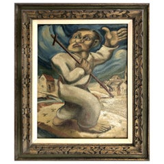 Latin American Oil Painting Manner of Diego Rivera, 1920s-1930s