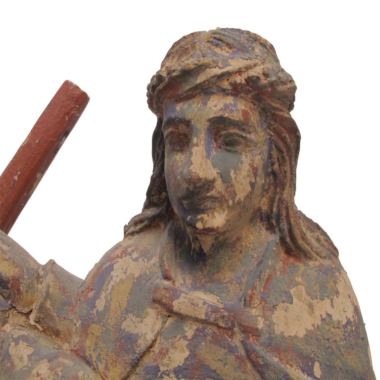 Carved Latin American Religious Santos Carving, Mexican, 19th Century For Sale