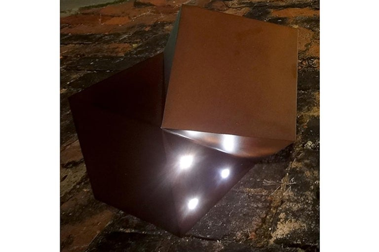 Brushed Latitude Light, Wood or Steel Contemporary Solar-Powered Lighting, Customizable For Sale