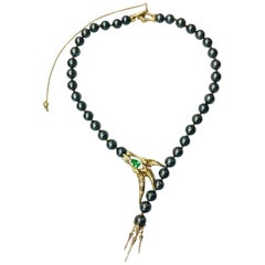 Latreia by Mana Matsuzaki Claw Paraiba Tourmaline Diamond Pearl Necklace in 18K