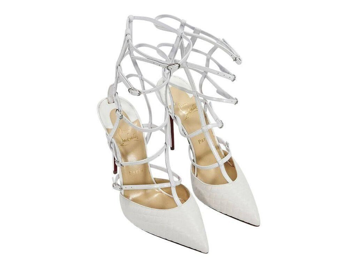 1451ff3a6799 Latte Christian Louboutin Kadreyana 100mm Cage Sandals For Sale at 1stdibs