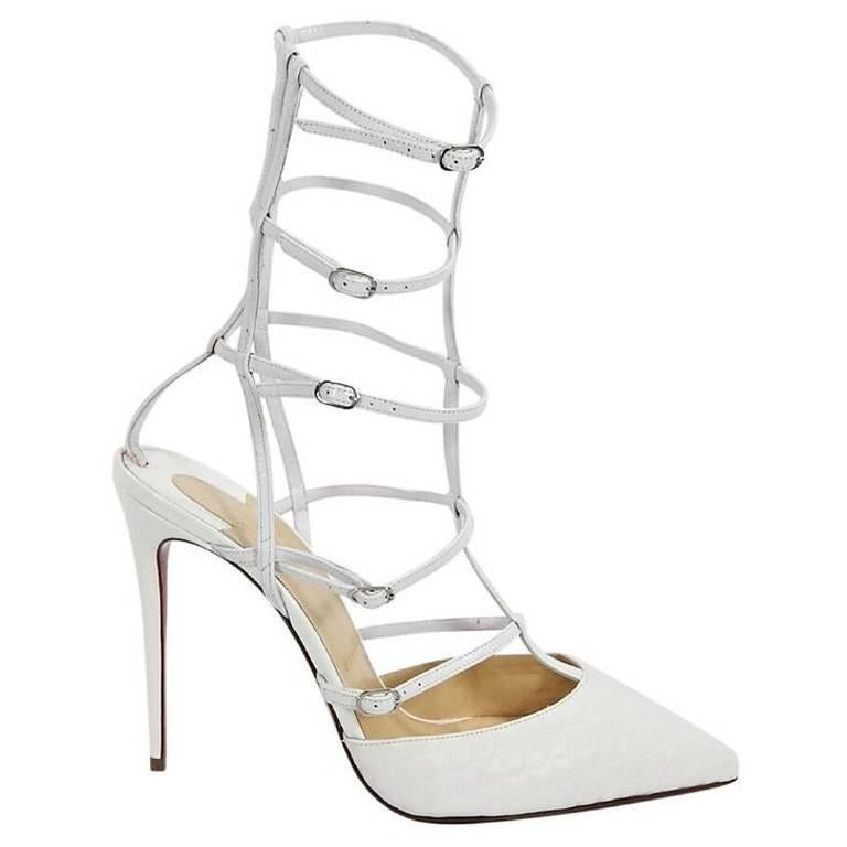 282dce81ff72 Latte Christian Louboutin Kadreyana 100mm Cage Sandals For Sale at ...