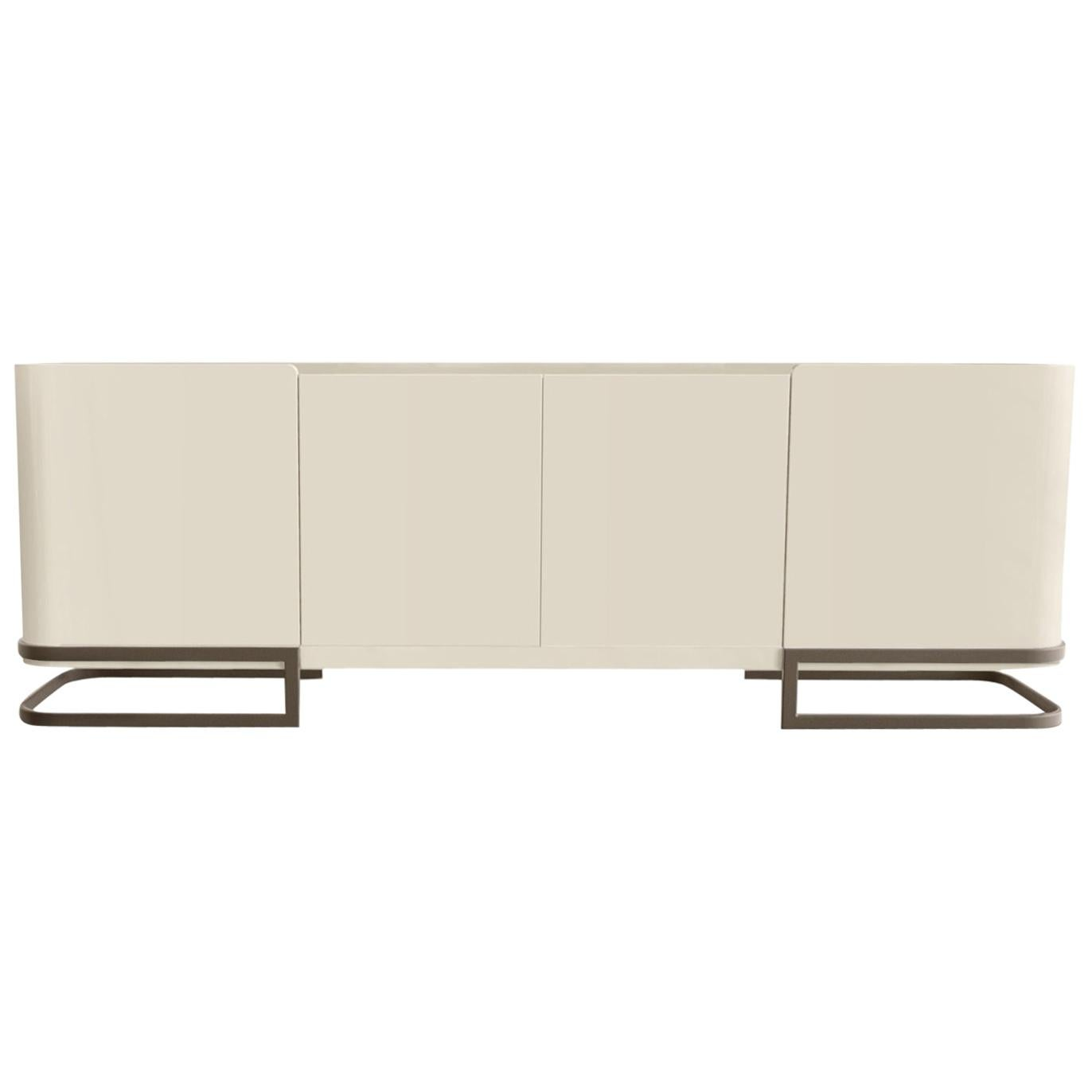 Latte Sideboard Lacquered in High Gloss Cream