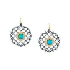 Lattice Earrings with Opal and Diamonds