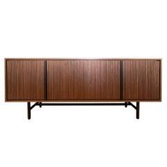 Lattice Sideboard, Contemporary Modern Minimalist Wooden Two-Tone Walnut