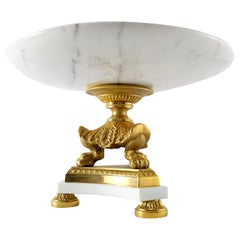 Laudarte Centerpiece Srl Statuario Marble, 24-Karat Gilt Bronze Tazza Olimpia II