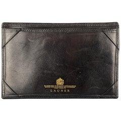 LAUNER Solid Black Leather Card Case Wallet