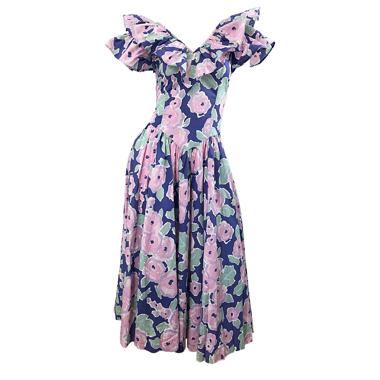 Laura Ashley Batsheva 80s Sz 6 Purple Pink Avant Garde Vintage Floral Midi Dress