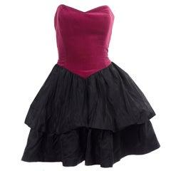 Laura Ashley 1980s Vintage Strapless Red Velvet & Black Taffeta Evening Dress