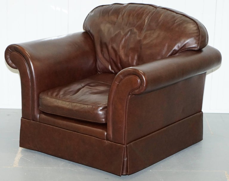 Laura Ashley Brown Heritage 100% Cattle Hide Leather Armchair ...
