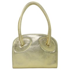 Laura Biagiotti Attributed Gold Leather Handbag, 1970's