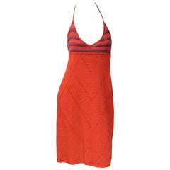 Laura Biagiotti Beaded Red Cashmere Dress Empire Waist and Halter Neckline