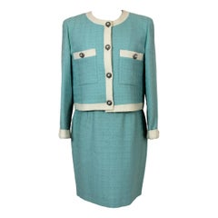 Laura Biagiotti Blue Wool Boucle Suit Skirt And Jacket 1980s