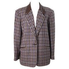 Laura Biagiotti Brown Beige Wool Tweed Jacket