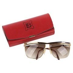 LAURA BIAGIOTTI c.1980's Silver Gold Criss Cross Top Bar T110/s Vtg Sunglasses