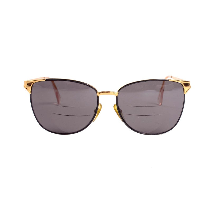 Laura Biagiotti Gold Rim Vintage Sunglasses Frames In Excellent Condition For Sale In Portland, OR