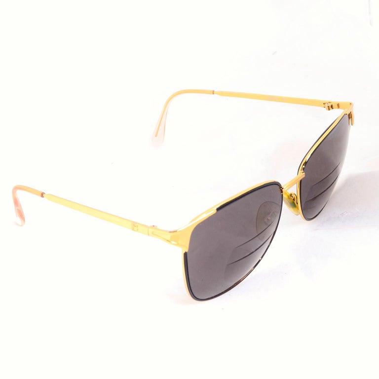 Women's or Men's Laura Biagiotti Gold Rim Vintage Sunglasses Frames For Sale