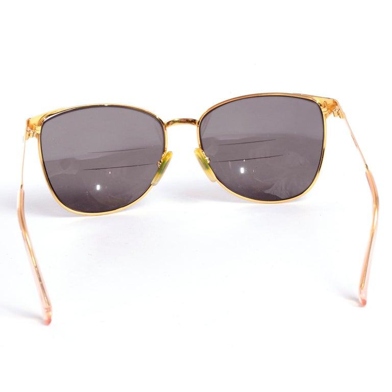 Laura Biagiotti Gold Rim Vintage Sunglasses Frames For Sale 1
