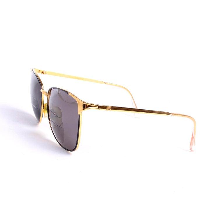 Laura Biagiotti Gold Rim Vintage Sunglasses Frames For Sale 3