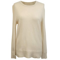 Laura Biagiotti Ivory Wool Cashmere Long Sleeve Jumper Sweater Size 40