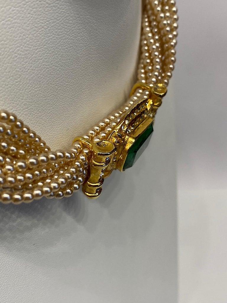 Laura Biagiotti Multi Strand Pearl Torsade Necklace, 1980s For Sale 6