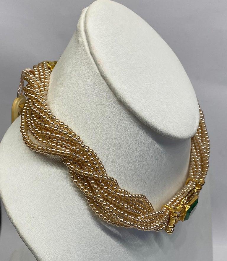 Laura Biagiotti Multi Strand Pearl Torsade Necklace, 1980s For Sale 7